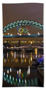 Tyne Bridge At Night Beach Towel