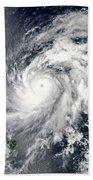 Typhoon Sanba Over The Pacific Ocean Beach Towel