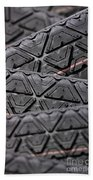 Tyres Stacked With Focus Depth Beach Towel