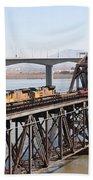 Union Pacific Locomotive Trains Riding Atop The Old Benicia-martinez Train Bridge . 5d18850 Beach Towel