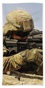 U.s. Air Force Soldier Fires The Mk48 Beach Towel