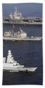 U.s. And French Navy Ships Transit Beach Towel