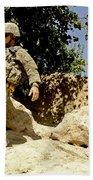U.s. Army Soldier Climbs Down A Hill Beach Towel