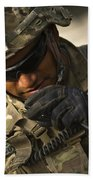 U.s. Army Soldier Communicates Beach Towel