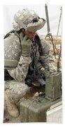 U.s. Army Soldier Performs A Radio Beach Towel by Stocktrek Images