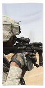U.s. Army Soldier Scans The Horizon Beach Towel by Stocktrek Images