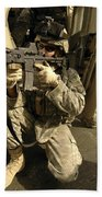 U.s. Army Soldiers Providing Overwatch Beach Towel by Stocktrek Images