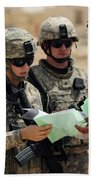 U.s. Army Soldiers Talking With A Town Beach Towel by Stocktrek Images
