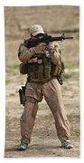 U.s. Contractor Firing A M4 Carbine Beach Towel