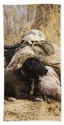 U.s. Marine And A Military Working Dog Beach Towel