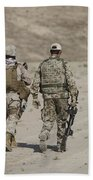 U.s. Marine And German Soldier Walk Beach Towel