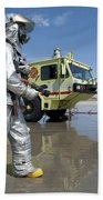 U.s. Marine Firefighters Stand Ready Beach Towel