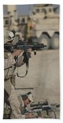 U.s. Marine Fires A G36k Carbine Beach Towel