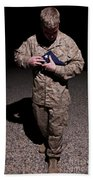 U.s. Marine Holding The American Flag Beach Sheet