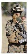 U.s. Marine Radios His Units Movements Beach Towel by Stocktrek Images