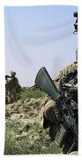 U.s. Marine Uses A Radio Beach Towel