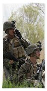 U.s. Marines Communicate Beach Towel