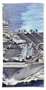 Uss Abraham Lincoln Transits Beach Towel