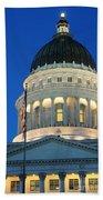 Utah State Capitol Building Dome At Sunset Beach Towel