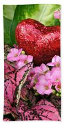 Valentine Heart And Flowers Beach Towel