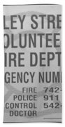 Valley Stream Fire Department In Black And White Beach Towel