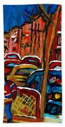 Verdun Rowhouses With Hockey - Paintings Of Verdun Montreal Street Scenes In Winter Beach Towel