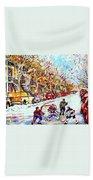 Verdun Street Hockey Game Goalie Makes The Save Classic Montreal Winter Scene Beach Towel