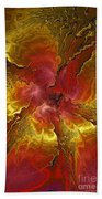 Vibrant Red And Gold Beach Towel