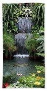 Victorian Garden Waterfall - Digital Art Beach Towel