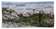 View Of Athens From Acropolis Beach Towel