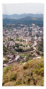 View Of Katra Township While On The Pilgrimage To The Vaishno Devi Shrine In Kashmir In India Beach Towel