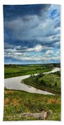 View Of River With Storm Clouds Beach Towel