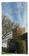 View Of St Mary Church And Clouds In Dover Castle Beach Towel