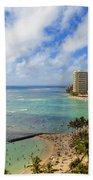View Of Waikiki And Beach Beach Towel