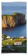 Village And Perce Rock At Sunset Beach Towel