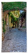 Village Lane Provence France Beach Towel