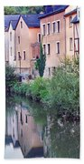 Village Reflections In Luxembourg I Beach Towel by Greg Matchick