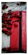 Vines On Red Shutters Beach Towel
