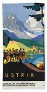 Vintage Austrian Travel Poster Beach Towel