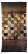 Vintage Checkers Game Beach Sheet