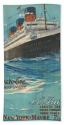 Vintage French Line Travel Poster Beach Towel