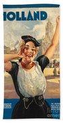 Vintage Holland Travel Poster Beach Sheet
