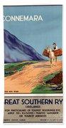 Vintage Ireland Travel Poster Beach Towel