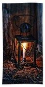 Vintage Lantern In A Barn Beach Towel