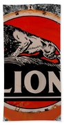 Vintage Lion Oil Sign Beach Towel