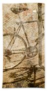 Vintage Looking Bicycle On Brick Pavement Beach Towel