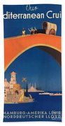Vintage Mediterranean Travel Poster Beach Sheet