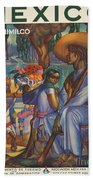 Vintage Mexico Travel Poster Beach Towel