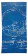 Vintage Monocycle Patent Artwork 1894 Beach Towel
