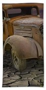 Vintage Pickup On Parched Earth Beach Towel